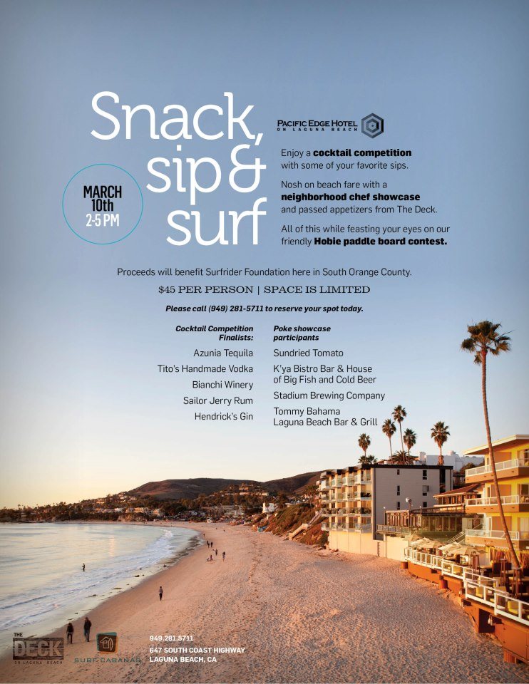Snack, Sip and Surf at Pacific Edge Hotel