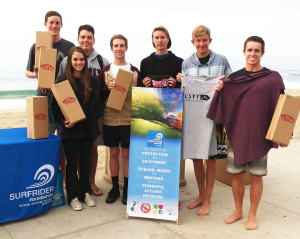 November '13 membership push winning QUAD club from Santa Margarita Catholic High School, President Ryan Dugan (2nd from R) with his team at a beach clean in Laguna Beach, CA.